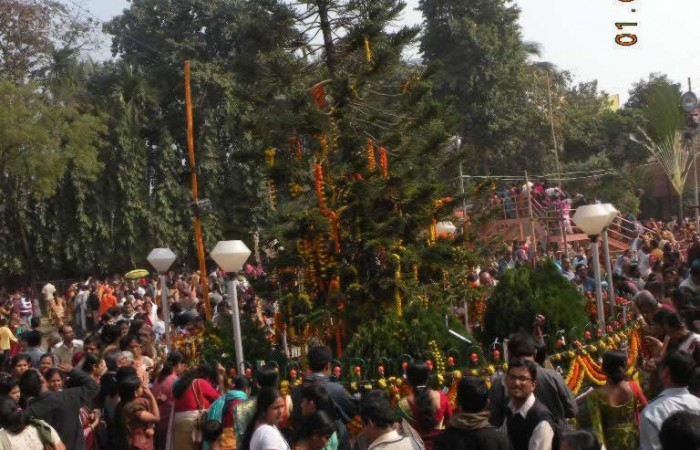 Devotee's Gathering near Main Building